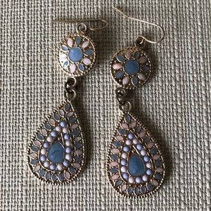 NWOT Blue and Pink Long Earrings